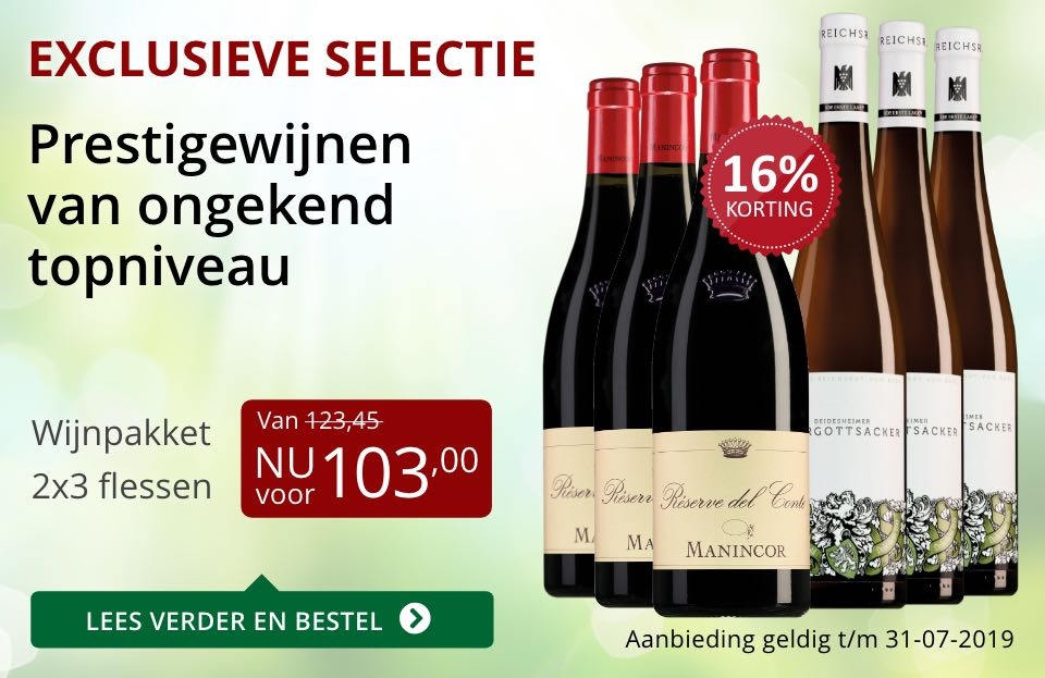 Wijnpakket bijzondere wijnen juli 2019 (103,00)- rood