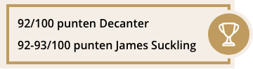 Score: 92/100 punten Jane Anson, Decanter.com, April 2017